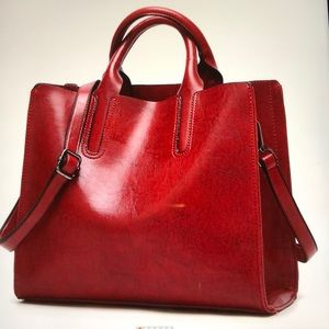 Handbags - Red Leather Handbag